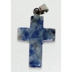Croix en Quartz bleu